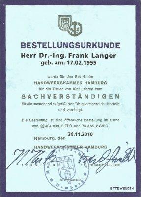 Bestellungsurkunde Sachverständiger Dr. Ing Frank Langer